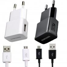 Adaptor priza Original Samsung + Cablu de date Negru / Alb, USB 5V / 2A
