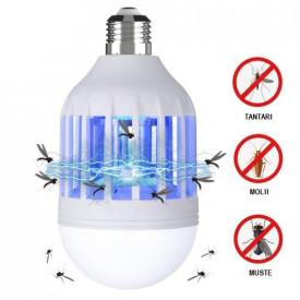 Bec LED Anti Insecte cu lumina alba naturala puternica 15W - Bec 2in1 Cu Lampa UV Impotriva Insectelor