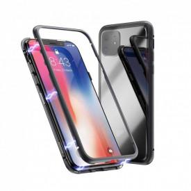 Husa Apple iPhone 11 Negru, Perfect Fit cu spate de sticla securizata premium + folie de sticla gratis !