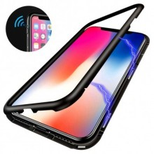 Husa Apple iPhone 7 Magnetica 360 grade Negru , MyStyle Perfect Fit cu spate de sticla securizata premium + folie de sticla pentru ecran gratis