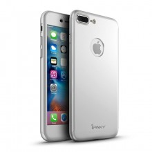 Husa Apple iPhone 7 Plus, FullBody Elegance Luxury iPaky Silver, acoperire completa 360 grade cu folie de sticla gratis