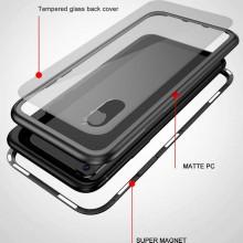 Husa Apple iPhone 8, Magnetica 360 grade Argintiu, Perfect Fit cu spate de sticla securizata premium + folie de sticla pentru ecran gratis
