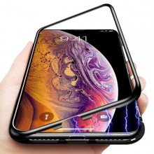Husa Apple iPhone X, Magnetica 360 grade Negru , MyStyle Perfect FIt cu spate de sticla securizata premium + folie de sticla pentru ecran gratis
