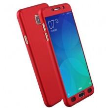 Husa Samsung Galaxy J7 2017, FullBody Elegance Luxury Red, acoperire completa 360 grade cu folie de sticla gratis