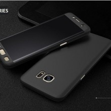 Husa Samsung Galaxy S6 Edge, FullBody Elegance Luxury Black, acoperire completa 360 grade cu folie de protectie gratis