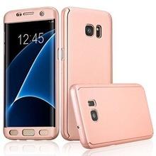 Husa Samsung Galaxy S7 Edge, FullBody Elegance Luxury Rose-Gold, acoperire completa 360 grade cu folie de protectie gratis