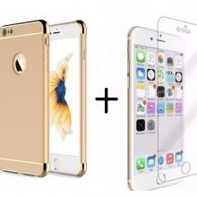 Pachet husa Elegance Luxury 3in1 Ultrasubtire Gold pentru Apple iPhone 7 Plus cu folie de sticla gratis