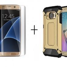 Pachet husa Elegance Luxury Armour Strong Gold pentru Samsung Galaxy S6 Edge cu folie de protectie gratis