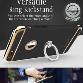 Pachet husa Elegance Luxury Black 3in1 Ultrasubtire cu inel pentru Apple iPhone 7 cu folie de sticla gratis