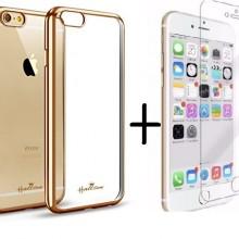 Pachet Husa ELEGANCE LUXURY pentru Apple Iphone 6 / Apple Iphone 6S PLACATA AURIU (ELECTROPLATING GOLD) cu folie de protectie gratis