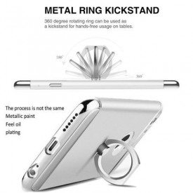 Pachet husa Elegance Luxury Silver 3in1 Ultrasubtire cu inel pentru Apple iPhone 7 Plus cu folie de protectie gratis
