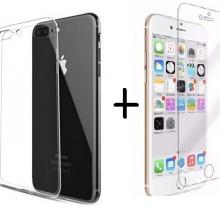 Pachet husa Elegance Luxury slim TPU transparenta pentru Apple iPhone 7 Plus cu folie de sticla gratis