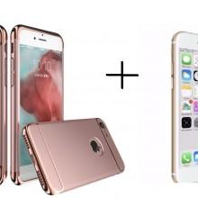 Pachet husa Elegance Luxury Ultrasubtire 3in1 Rose-Gold pentru Apple iPhone 7 cu folie de sticla gratis
