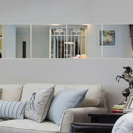 Set Oglinzi Design Patrat Silver - Oglinzi Decorative Acrilice Cristal - Diamant - Luxury Home 9 bucati/set