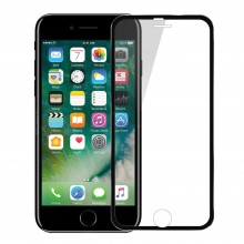 Folie de sticla Apple iPhone 7, Elegance Luxury cu rama metalica Black