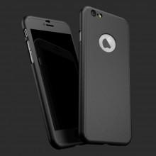 Husa Apple iPhone 6 Plus/6S Plus, FullBody Elegance Luxury Black, acoperire completa 360 grade cu folie de sticla gratis