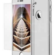 Husa Apple iPhone 7, FullBody Elegance Luxury Silver, acoperire completa 360 grade cu folie de sticla gratis