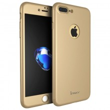 Husa Apple iPhone 7 Plus, FullBody Elegance Luxury iPaky Gold, acoperire completa 360 grade cu folie de sticla gratis