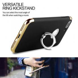 Husa Apple iPhone SE2, Elegance Luxury 3in1 Ring Negru
