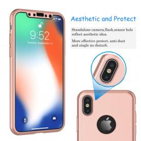 Husa Apple iPhone X, FullBody Elegance Luxury Rose-Gold, acoperire completa 360 grade cu folie de sticla gratis