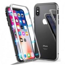 Husa Apple iPhone X, Magnetica 360 grade Argintiu , MyStyle Perfect Fit cu spate de sticla securizata premium + folie de sticla gratis