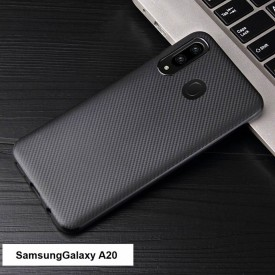 Husa pentru Samsung Galaxy A20, MyStyle Perfect Fit, cu insertii de carbon, negru