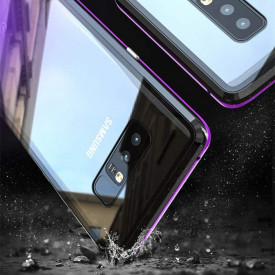 Husa Samsung Galaxy Note 8 Magnetica 360 grade Black, Perfect Fit cu spate de sticla securizata premium + folie de sticla pentru ecran