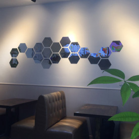 Oglinda Design Hexagon Silver - Oglinzi Decorative Acrilice Cristal - Diamant - Luxury Home - Diagonala 12-14cm - 1 bucata