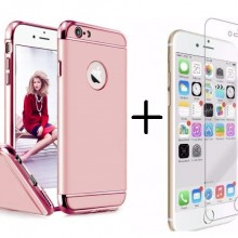 Pachet husa Elegance Luxury 3in1 Rose-Gold pentru Apple iPhone 6 / Apple iPhone 6S cu folie de sticla gratis