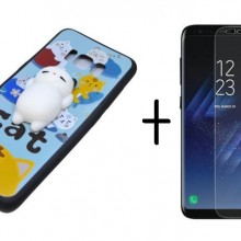 Pachet husa Elegance Luxury Squishy Blue pentru Samsung Galaxy S8 cu folie de protectie gratis