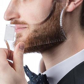 Pieptene Contur Barba & Mustata PRO / Sablon pentru Barba & Mustata ca la Salon Transparent
