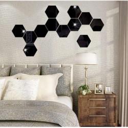 Set Oglinzi Acrilice Design Hexagon - Oglinzi Decorative XXL Size Black Luxury Home 12 bucati/set