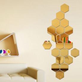 Set Oglinzi Design Hexagon Gold - Oglinzi Decorative Acrilice Cristal - Diamant - Luxury Home 24 bucati/set