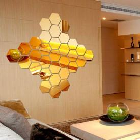Set Oglinzi Design Hexagon Gold - Oglinzi Decorative Acrilice Cristal - Diamant - Luxury Home 12 bucati/set