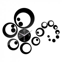 Set Oglinzi Design Modern Ceas Perete - Oglinzi Decorative Acrilice Black Ceas Perete - Diamant Luxury Home 23 bucati/set