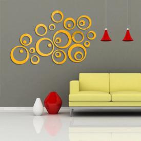 Set Oglinzi Design Modern - Oglinzi Decorative Acrilice Gold - Luxury Home 24 bucati/set