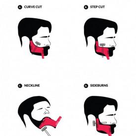 Set profesional pieptene / sablon transparent contur barba & mustata + Brici profesional pentru barbierit si ras capilar, brici din otel inoxidabil, PRO