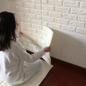 Tapet 3D Alb design perete modern din caramida in relief, Autoadeziv , 77x70 cm