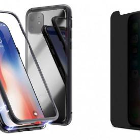 Husa Apple iPhone 11 PRO Magnetica cu spate din sticla securizata si folie privacy pentru ecran, Perfect Fit