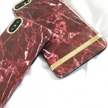 Husa Apple iPhone 6/6S, Elegance Luxury Marble Red TPU, husa cu insertii marmura rosie-aurie