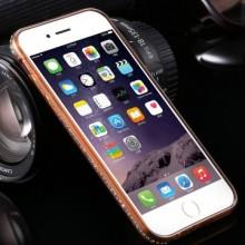 Husa Apple iPhone 7, Elegance Luxury electroplacata cu diamante Auriu