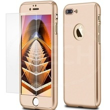 Husa Apple iPhone 7 Plus, FullBody Elegance Luxury Gold, acoperire completa 360 grade cu folie de sticla gratis