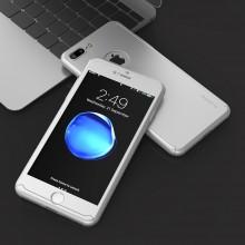 Husa Apple iPhone 7 Plus, FullBody Elegance Luxury Silver, acoperire completa 360 grade cu folie de sticla gratis