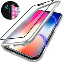 Husa Apple iPhone 7 PLUS Magnetica 360 grade Argintiu, Perfect Fit cu spate de sticla securizata premium + folie de sticla pentru ecran gratis