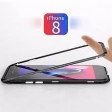 Husa Apple iPhone 8, Magnetica Negru, Perfect Fit cu spate de sticla securizata premium