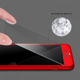 Husa Apple iPhone 8 Plus, FullBody Elegance Luxury Rosu, acoperire completa 360 grade cu folie de sticla gratis