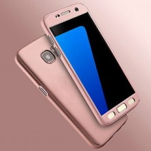 Husa Samsung Galaxy A5 2017, FullBody Elegance Luxury Rose-Gold, acoperire completa 360 grade cu folie de sticla gratis
