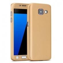 Husa Samsung Galaxy A7 2016, FullBody Elegance Luxury Gold, acoperire completa 360 grade cu folie de sticla gratis