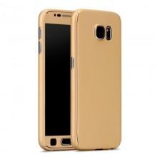 Husa Samsung Galaxy J3 2017, FullBody Elegance Luxury Gold, acoperire completa 360 grade cu folie de sticla gratis