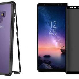 Husa Samsung Galaxy Note 9 Magnetica cu spate din sticla securizata si folie privacy pentru ecran, Perfect Fit